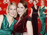 Melrose Place vixens Marcia Cross and Kelly Rutherford celebrate in complimentary red and green dresses at Munich gala