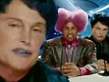 Is that you, Kris? Cross-dresser Bruce Jenner gets dolled up in blue lipstick and black wig in trailer for spoof flick The Hungover Games