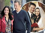 Monica and Chandler back together! Courteney Cox and Matthew Perry let the good times roll again on the set of Cougar Town