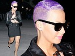 Electric purple: Amber Rose turned heads with a new rocker hairstyle at the Beyonce concert on Tuesday night in downtown Los Angeles