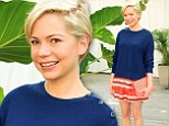 Frill seeker! Michelle Williams dresses down a ruffled red skirt with a cute navy jumper for Art Basel Beach Barbecue