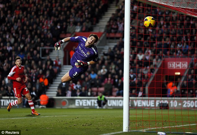 No chance: The ball sailed over Pantilimon and into the top corner
