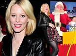Belly full of laughs! Elizabeth Banks shows her festive spirit in plaid skirt and leather jacket to help Santa light the tree at LEGOLAND