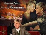 Ellen DeGeneres and Portia de Rossi get 'bound' as they make fun of both Kanye's video and the Kardashian Kristmas Kard