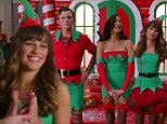 Lea Michele, Naya Rivera, and Chris Colfer become sexy Santa helpers in Glee's Christmas episode