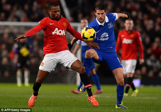 Up for it: Everton midfielder Kevin Mirallas (right) challenges United's Patrice Evra (left)