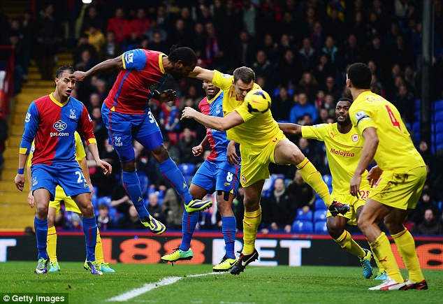 First blood: Cameron Jerome of Crystal Palace heads the opening goals against his former club