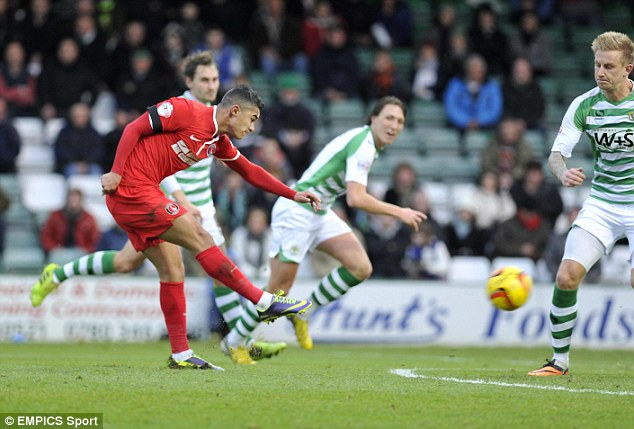 Tricky: Winger Cameron Stewart sped down the left and cut inside before blasting home Charlton's opener