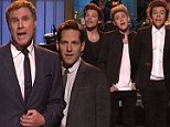'Now we're Nine Direction!' Harry Styles and the boys join Paul Rudd and his Anchormen for SNL duet...and Kristen Wiig returns