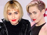The bob is back! Miley Cyrus reveals new more conservative longer hairstyle and bangs at Christmas soiree... but ruins the look with her very dark regrowth
