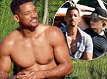Not bad for 45! Will Smith proudly displays his washboard abs as he goes shirtless for cruise with Margot Robbie in Argentina