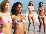 Twice as nice! Jessica Hart parades around the beach in another bikini and is once again joined by fellow stunner Emanuela De Paula for swimsuit shoot