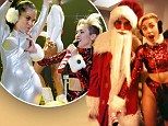 Has Miley taken things too far? Cyrus suggestively grasps a candy cane between Santa's thighs after grabbing a backup dancer's breast
