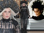 Slashing the competition! Lady Gaga carries on her weird fashion sense in Edward Scissorhands-inspired dress while leaving hotel