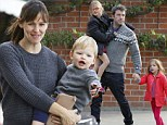 Jennifer Garner and Ben Affleck play with their daughters, Violet and Seraphina Affleck at the park