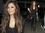 Sch-amazing: X Factor judge Nicole Scherzinger goes out for dinner in black lace bodysuit and lashings of black eye make-up