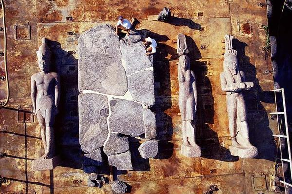 The statues and part of a large stele are assemble