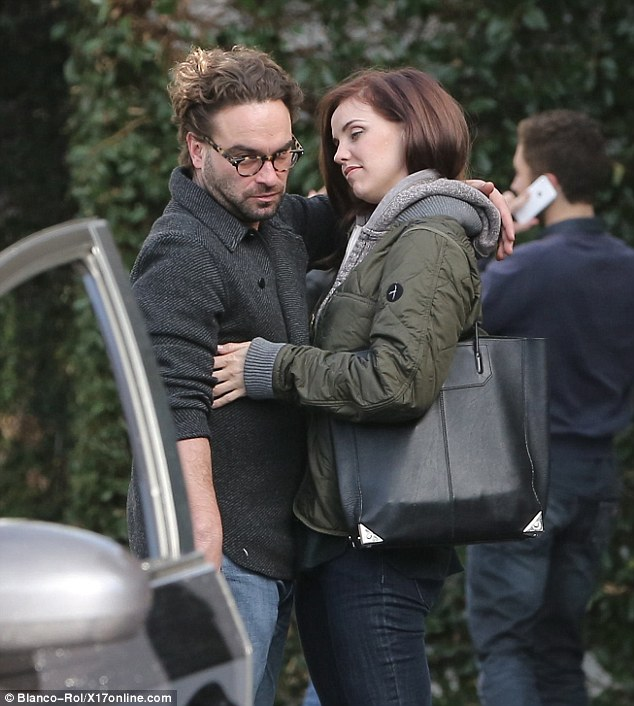 Honeymoon period: Johnny Galecki and Kelli Garner clearly enjoy each other's company