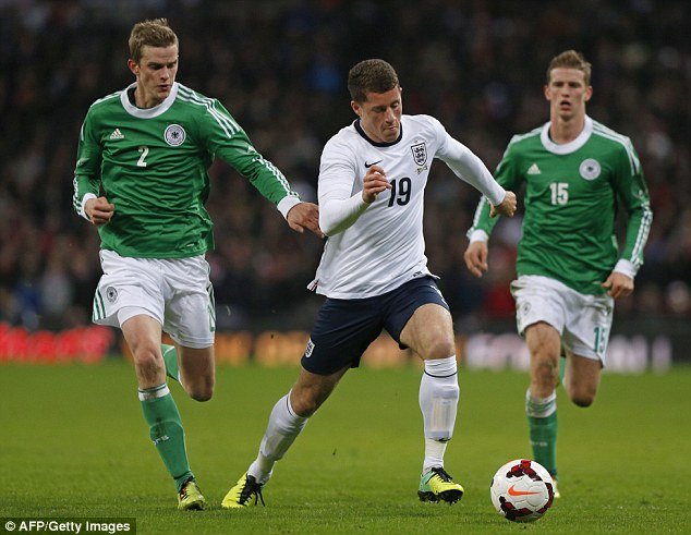 Big future: Everton's Ross Barkley, pictured here playing in a friendly against Germany last month, will be only 20 when the World Cop rolls around