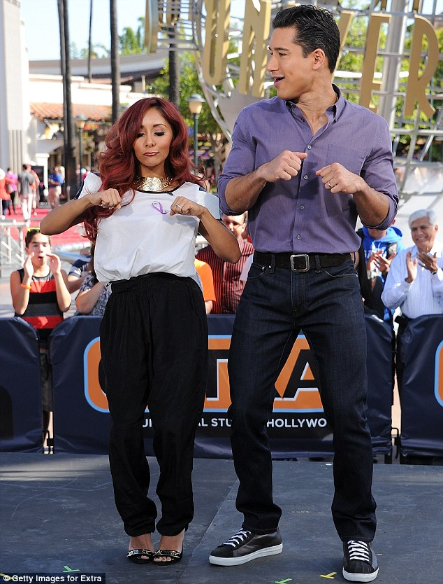 Busting out some moves: Snooki and Mario Lopez showed off their dancing prowess during the interview