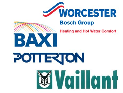 combination boilers from Worcester, Bax, Vaillant and Potterton
