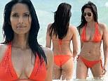 'Hungover' Padma Lakshmi, 43, flaunts incredible bikini body in orange two-piece on Miami beach