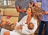 Smug mom! Gisele tweeted a picture of herself being preened, and wrote 'What would I do without this beauty squad after the 15 hours flying and only 3 hours of sleep #multitasking'