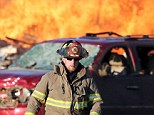 Firefighters battled a blaze in the aftermath of a Nov. 18 tornado in Washington, Illinois. The cast majority of U.S. firefighters are community volunteers
