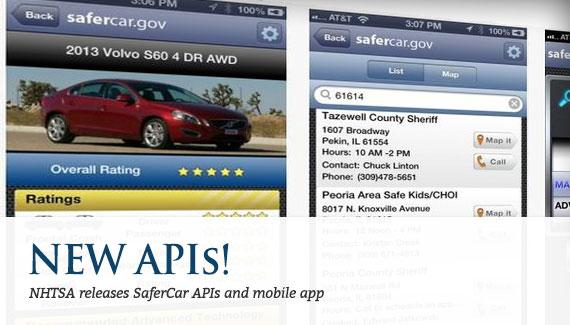 NHTSA releases SaferCar APIs and mobile app
