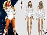 Beyonce steps out in new embellished bodysuit while on tour... after designer reveals original sketch of star with Barbie-like legs