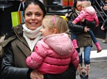 It's her version of the British invasion: Bethenny Frankel picks up her daughter Bryn from Manhattan day care wearing Union Jack rain boots