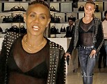 Showing off? Jada Pinkett Smith exposed her assets in a see-through shirt to go shopping at Gucci in Beverly Hills, California on Tuesday