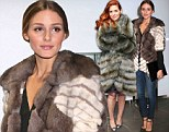 It's a wrap! Olivia Palermo warms the night in brown and ivory furry jacket as she joins gorgeous in green Debra Messing at store opening