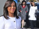 Pregnant Kerry Washington sticks to Olivia Pope's signature white wardrobe as she shoots Scandal scenes with co-star Bellamy Young