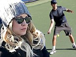 She must really love him! Kaley Cuoco braves chilly morning in winter woolies to be solo spectator at Ryan Sweeting's tennis practice