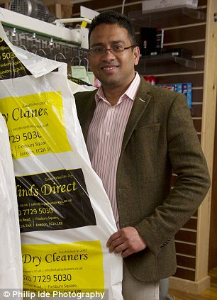 Cleaning up: Norman Perera set up City Dry Cleaners in October last year, but struggled to get funding from the banks