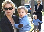 They grow up so fast! January Jones' two-year-old son Xander charges ahead of her on morning stroll in Los Angeles