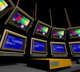 Quadrilateral Cowboy is a cyberpunk game for the '80s, with turrets controlled via blinking