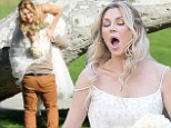 Brandi Glanville gives new meaning to the term 'blushing bride' as a series of hilarious mishaps mar her sophisticated bridal shoot