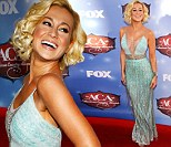 You missed a spot! Kellie Pickler sports a plunging V-neck gown revealing her tan line at the American Country Awards