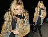 Stylish: Kate Moss steps out dressed for winter