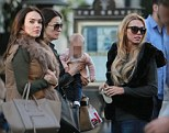 Sister act: Tamara and Petra Ecclestone and baby Lavinia shop at The Grove Shopping Mall in West Hollywood with their mother Slavica