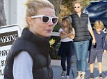 So Whole-some! Gwyneth Paltrow treats children Apple and Moses to frozen yoghurt after picking up groceries in black gilet and jeans