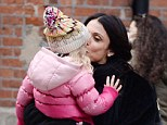 Doting mother: Bethenny Frankel carried her three-year-old daughter Bryn to their car after picking her up from school in Manhattan