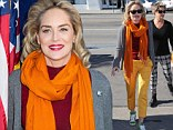 Does this get your attention? Sharon Stone arrived in a super bright outfit to host A Healthier & Better LA event at A Better Thrift Shop in Huntington Park, California on Wednesday