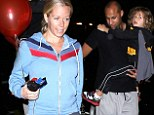 Putting comfort first: Pregnant Kendra Wilkinson left Johnny Rockets in Studio City on Wednesday with her husband Hank Baskett and birthday boy son, four-year-old Hank IV