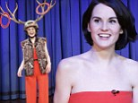 Isn't this a bit beneath Lady Mary? Downton's Michelle Dockery wears antlers on her head for game on Late Night with Jimmy Fallon