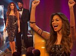 Getting Carr-ied away again! Nicole Scherzinger dances onto stage in strapless geometric print dress as she presents Alan Carr with comedy award