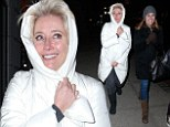 Chilly: Emma Thompson braves the cold weather in a duvet-style coat while walking around on Madison Avenue, New York City