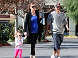 Happy trio: Kevin Federline out and about with wife Victoria Prince and two-year-old daughter Jordan Kay in Calabasas on Wednesday
